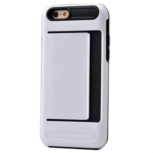 Teleplus İphone 6S Plus Cüzdanlı Çift Katmanlı Kılıf Kapak Beyaz