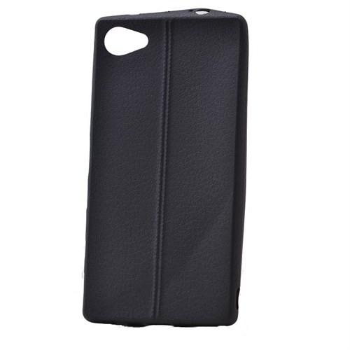 Teleplus Sony Xperia Z5 Mini Deri Görünümlü Silikon Kılıf Siyah