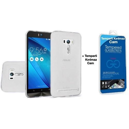Teleplus Asus Zenfone 2 Laser Ze550kl Silikon Kılıf 5.5İnç Şeffaf + Cam Ekran Koruyucu