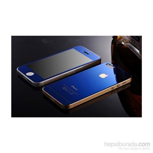 Teleplus İphone 5 Renkli Cam Ekran Koruyucu Ön + Arka Cam Ekran Koruyucu Mavi
