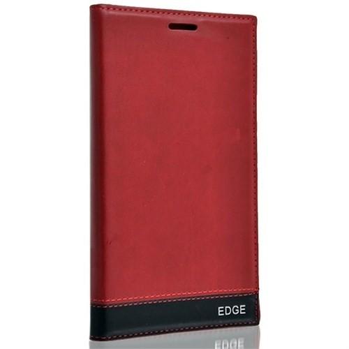 Teleplus Samsung Galaxy Note Edge Delux Flip Cover Kılıf Kırmızı