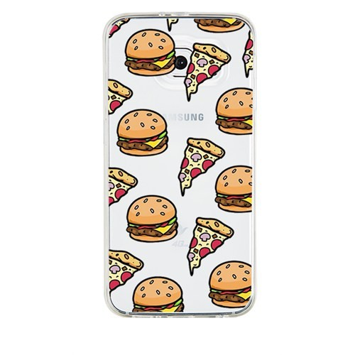 Remeto Samsung Galaxy Note 5 Transparan Silikon Resimli Hamburger Pizza