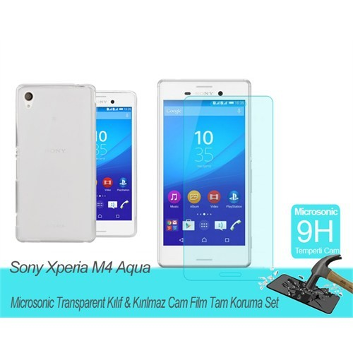 Microsonic Sony Xperia M4 Aqua Transparent Kılıf & Film Tam Koruma Set