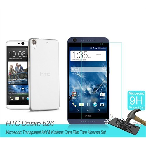 Microsonic Htc Desire 626Transparent Kılıf & Film Tam Koruma Set