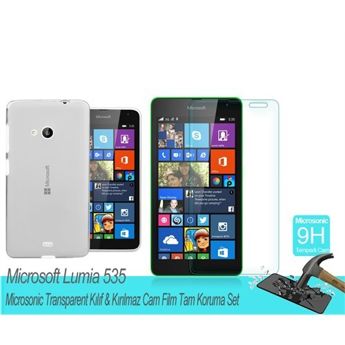 Microsonic Microsoft Lumia 535 Transparent Kılıf & Film Tam Koruma Set