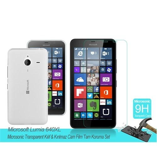 Microsonic Microsoft Lumia 640 Xl Transparent Kılıf & Film Tam Koruma Set