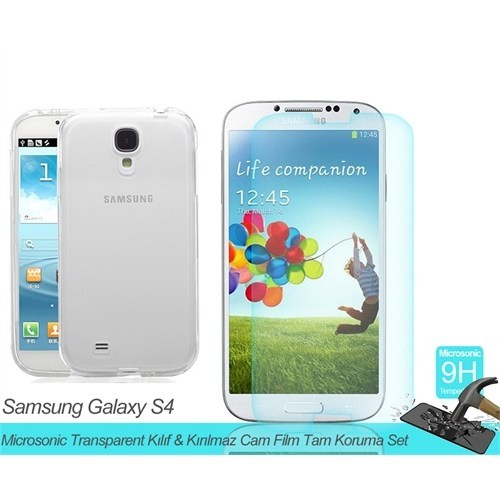 Microsonic Samsung Galaxy S4 Mini Transparent Kılıf & Film Tam Koruma Set