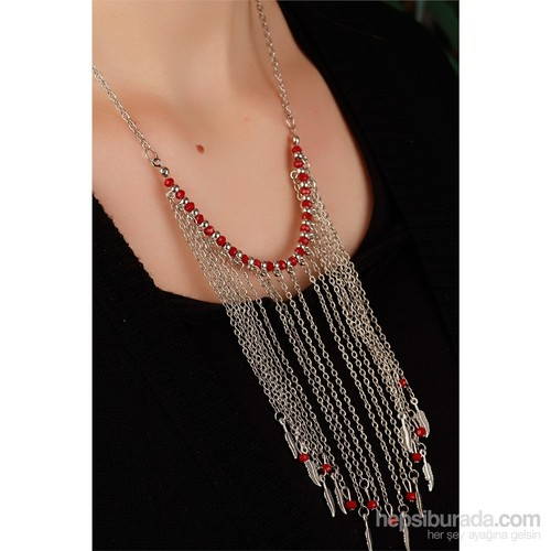 Morvizyon Gümüş Kaplama Zincirli Kırmızı Detaylı Uzun Zincir Püskül Tasarımlı Bayan Kolye