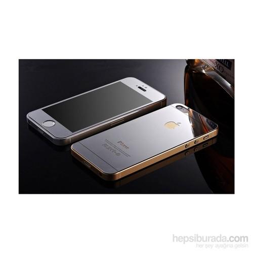 Teleplus İphone 5 Renkli Cam Ekran Koruyucu Ön + Arka Cam Ekran Koruyucu Gümüş