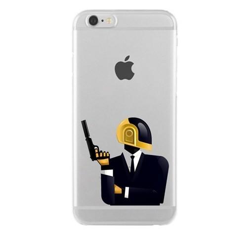 Remeto iPhone 6/6S Daft Punk Apple Şeffaf Silikon Resimli Kılıf