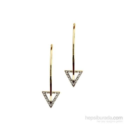 Chiccy Altın Rengi Kristalli Uzun Çubuklu Üçgen Küpe