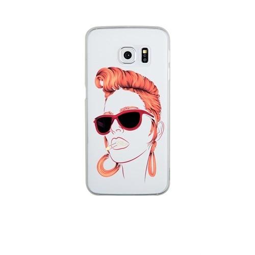 Remeto Samsung S6 Edge Silikon Kızıl Rock'n Roll Kızı