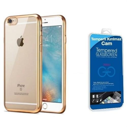 Teleplus İphone 6S Lazer Silikon Kılıf Gold + Cam Ekran Koruyucu
