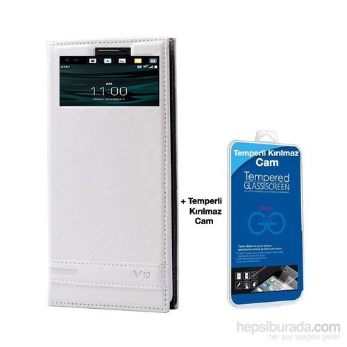 Teleplus Lg V10 Lüx Pencereli Kılıf Beyaz + Cam Ekran Koruyucu