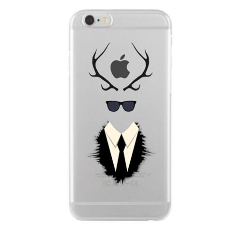 Remeto iPhone 6/6S Şeffaf Silikon Resimli Boynuz Gözlük Takım Elbise Apple