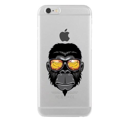 Remeto iPhone 6/6S Cool Maymun Apple Şeffaf Silikon Resimli Kılıf
