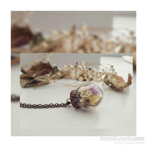 Güven Altın Yaşayan Kolyeler Kristal Cam Kurutulmuş Çiçekler Yk128