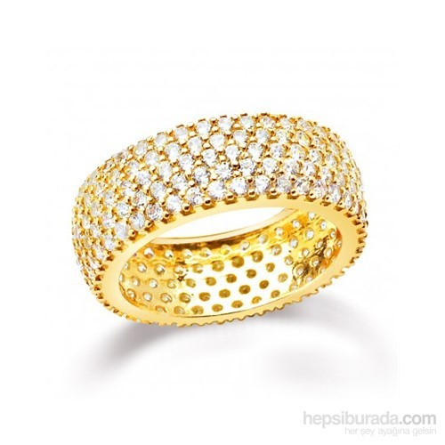 Aslaner Beş Sıra Tamtur Gümüş Alyans - Gold