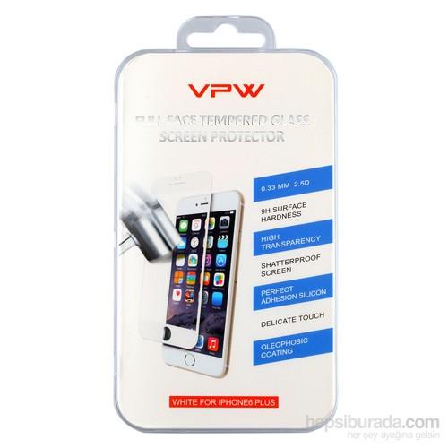VPW Apple iPhone 6 Plus Fullfıt Beyaz Tempered Glass Ekran Koruyucu