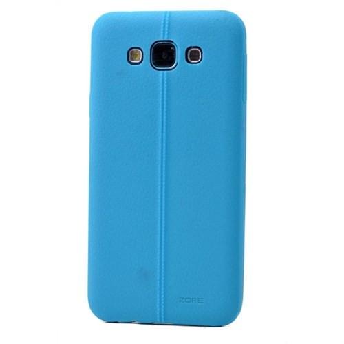 Teleplus Samsung Galaxy A8 Deri Görünümlü Silikon Kılıf Mavi