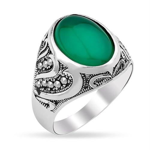 Tesbihevim Yeşil Akik Taşlı Gümüş Yüzük