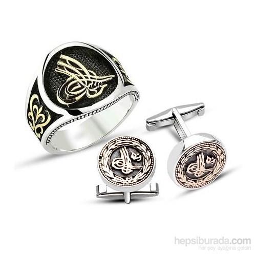 Tesbihane 925 Ayar Gümüş Tuğralı Yüzük - Kol Düğmesi Kombini