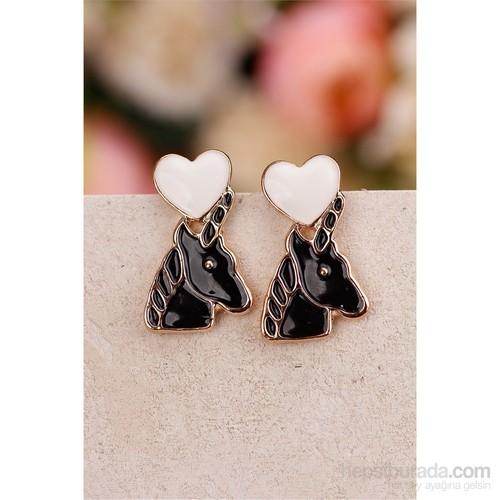 Morvizyon Siyah Üzeri Beyaz Kalp Model Bayan Küpe