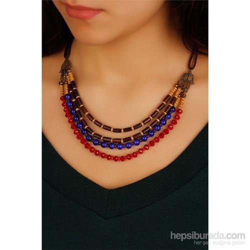 Morvizyon Mavi & Kırmızı Boncuk Tasarımlı Yeni Trend Bayan Kolye Modeli