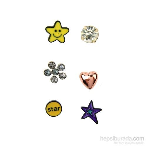 Chiccy Sarı Gülen Yıldız Kalp Çiçekli Çoklu Küpe Seti