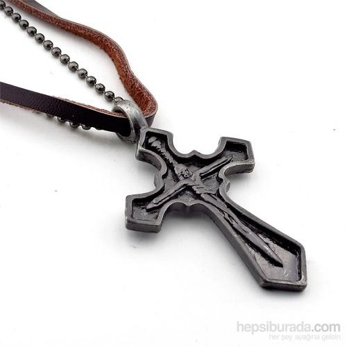 Solfera Jesus Haç Deri Metal Erkek Kolye K413