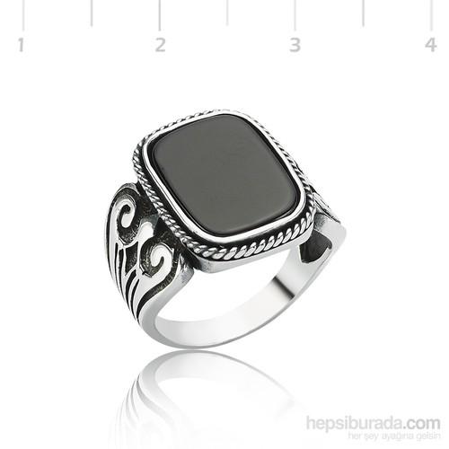 Tekbir Silver Gümüş Dikdörtgen Onix Yüzük