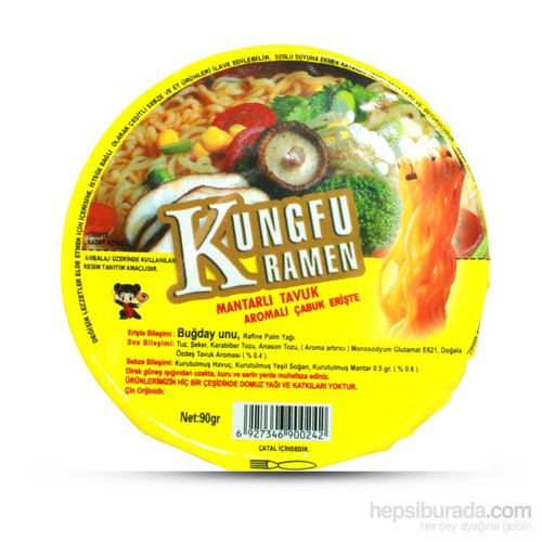 Kunghu Ramen Mantar Tavuk Aromalı Erişte 90 gr