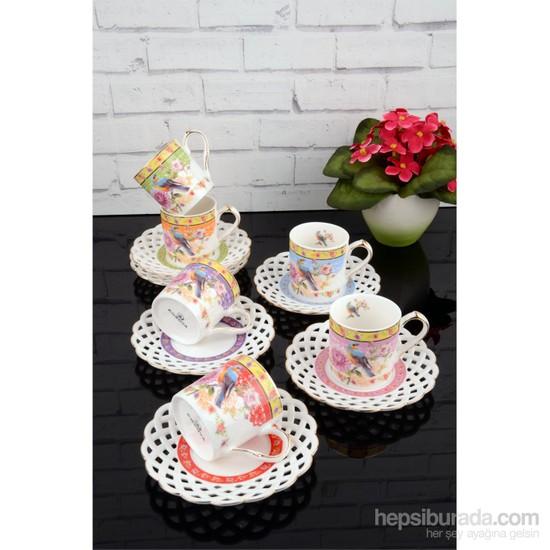 Paşahome Nakışlı Kuş Model Porselen Lüx 6 Kişilik Renkli Kahve Seti