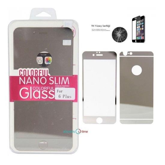 Cyber Apple iPhone 6 6S Plus Sılver Aynalı Ekran Koruyucu Cam Ön-Arka