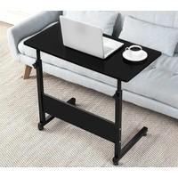 Yükseklik Ayarlı Yatay Laptop Sehpası ve Çalışma Masası - Siyah (Tekerli)