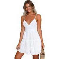Generic Kadın Dantel Kaşkorse Elbise Beyaz (Yurt Dışından)