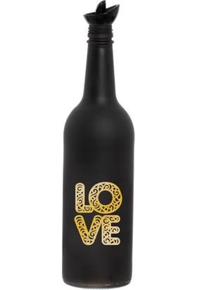 Herevin 750CC Altın Love Desen Matsiyah Cam Yağlık