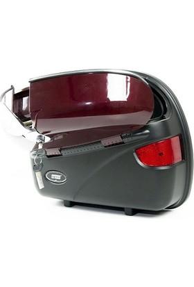 Smk Motosiklet Yan Çanta Cruiser Takım + Çanta Demiri- Kırmızı
