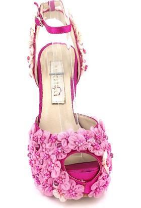 Marcamiss 7176 Özel Tasarım Platform Topuk Abiye Kadın Ayakkabı Fuşya