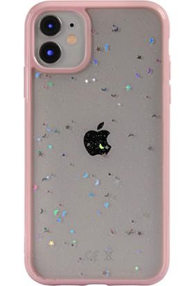 Moserini Apple iPhone 12 Mini Lav Silikon Pembe Telefon Kılıfı Simli Arka Kapak