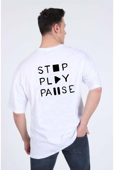 Winner Erkek Oversize Music Desing Beyaz T-Shirt
