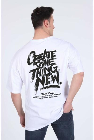 Winner Oversize Create Some Thing New Beyaz T-Shirt