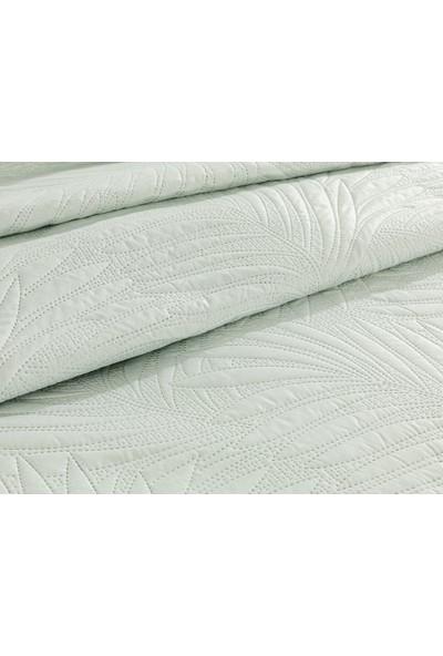 English Home Elegant Leaf Tek Kişilik Çok Amaçlı Yatak Örtüsü 160X220 cm Su Yeşili