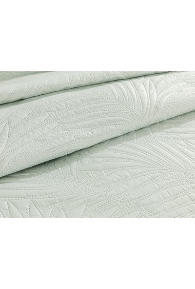 English Home Elegant Leaf King Size Çok Amaçlı Yatak Örtüsü 240X220 cm Su Yeşili