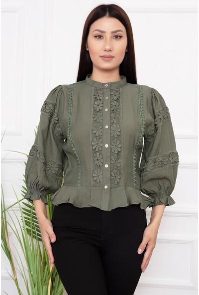 Kalopya Bayan Düğmeli Güpürlü 19885 Gömlek