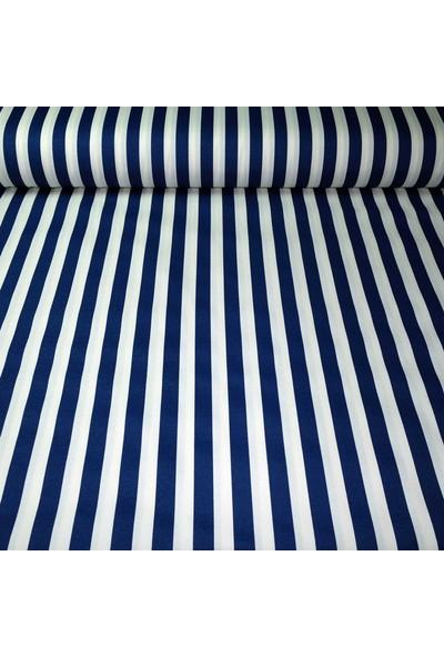 Küçükçalık Mavi Beyaz Çizgi Desenli Duck Kumaşı