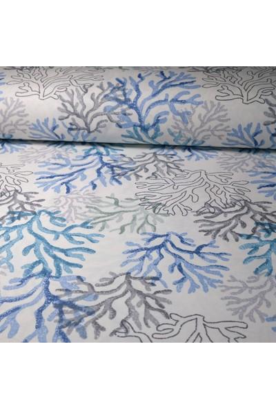 Küçükçalık Mavi Mercan Desenli Duck Kumaşı