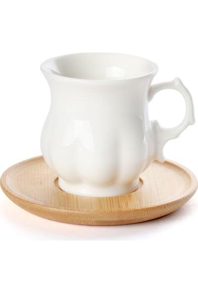 EWS Ew's Bambu Tabaklı 2 ' Li Kahve Fincanı