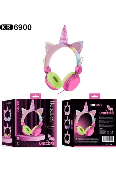 TEKNETSTORE Nicorn Kablolu Kulaküstü Kulaklık Renkli Sevimli Simli Şık Çocuk Sevimli Kız Kulaklığı Boynuzlu