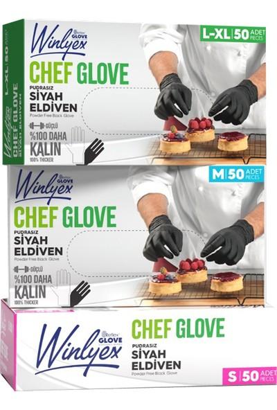 Reflex Winlyex Cheff Glove Pudrasız Siyah Eldiven L - Xl Beden 50'li